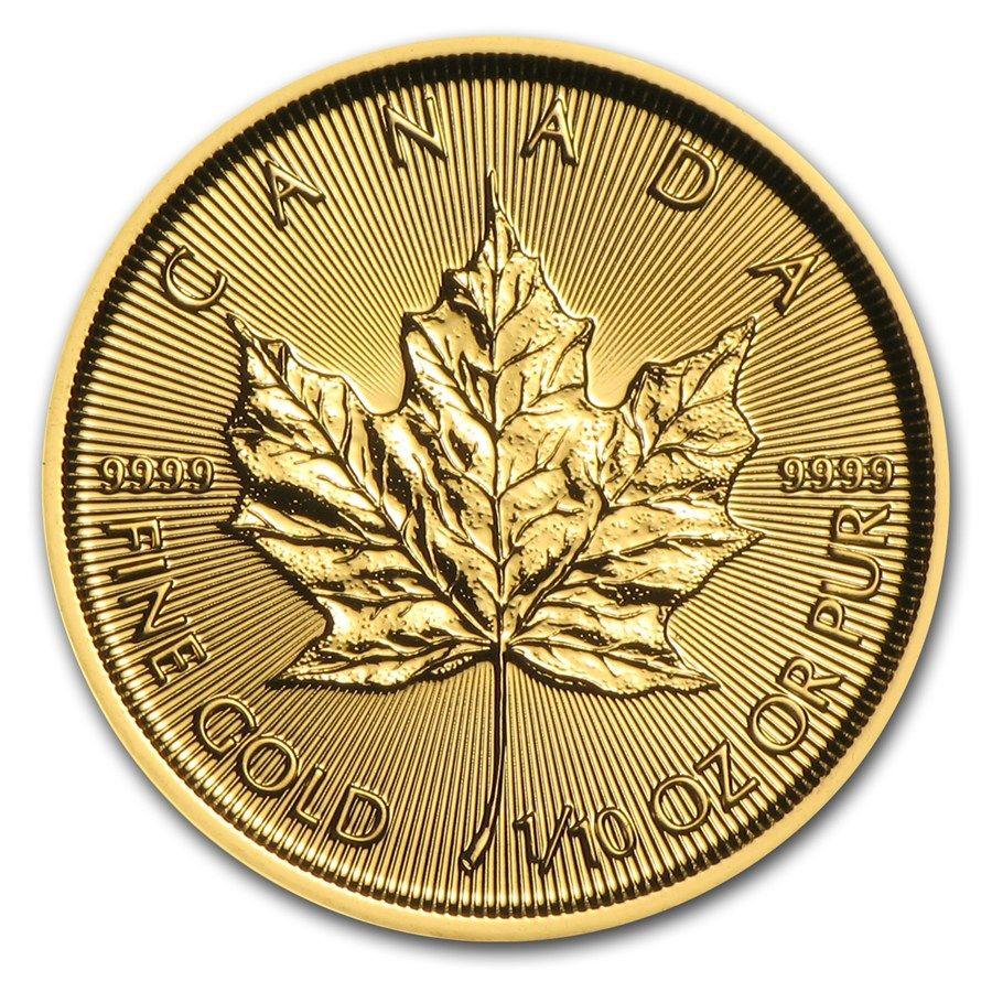 Monedas De Oro Maple Leaf Moneda De Oro Maple Leaf 2017 1 10 Oz
