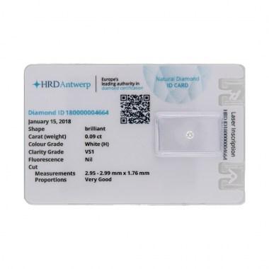 Diamante HRD certificado 0,09ct H VS1