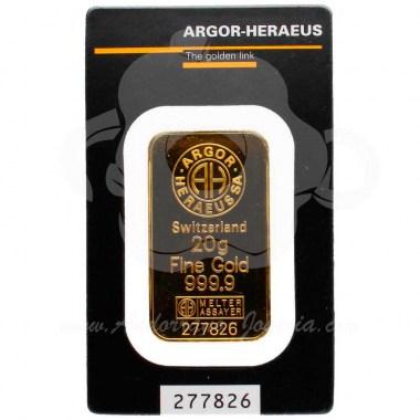Lingote oro 20 gramos puro 999