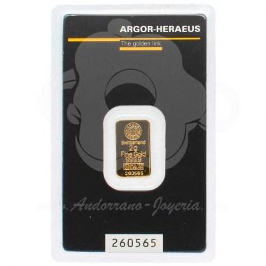 Lingote oro 2 gramos puro 999