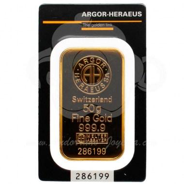 Lingote oro 50 gramos puro 999