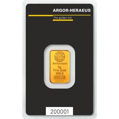 Lingote de Oro Argor-Heraeus Classic de 5g