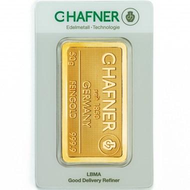 Lingote de Oro C Hafner de 50g