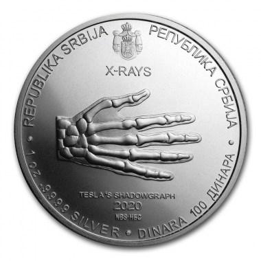 Moneda de Plata Nikola Tesla Radiografía de Serbia 2020 1 oz