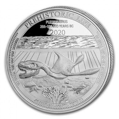 Moneda de Plata Plesiosaurus de Congo 2020 1 oz