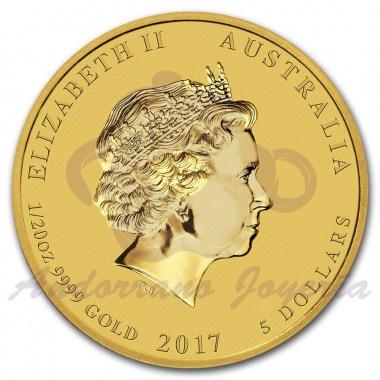 Moneda de Oro Año del Gallo 2017 1/20 oz