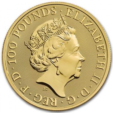 Moneda de Oro Queen's Beasts The White Greyhound 2021 1 oz