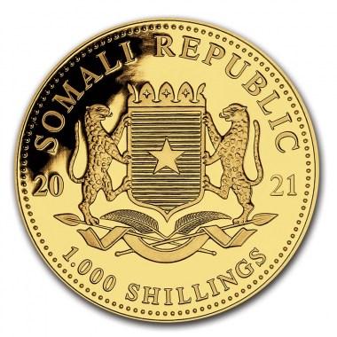 Moneda de Oro Elefante de Somalia 2021 1 oz