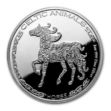 Moneda de Plata Caballo Celta de República de Chad 2020 1 oz