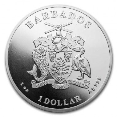 Moneda de Plata Pelícano del Caribe de Barbados 2021 1 oz