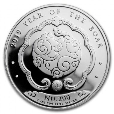 Moneda de Plata Año del Jabalí de Bhután 2019 1 oz