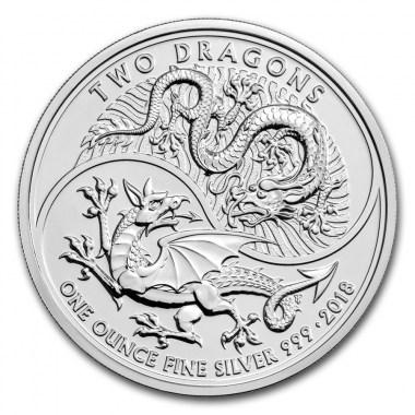 Moneda de Plata Dos Dragones de Reino Unido 2018 1 oz
