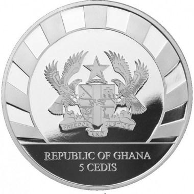 Moneda de Plata Gato de Dientes de Sable de Ghana 2020 1 oz