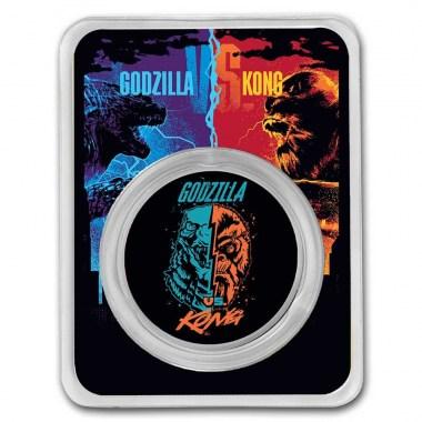 Moneda de Plata Godzilla vs Kong Cara a Cara 2021 1 oz