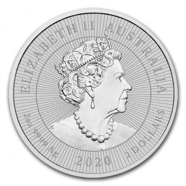 Moneda de Plata Kookaburra & baby (Piedfort) 2020 2 oz
