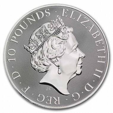 Moneda de Plata Queen's Beasts The White Greyhound 2022 10 oz