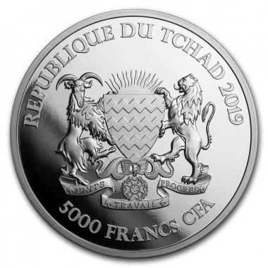 Moneda de Plata Elefante Mandala de República de Chad 2019 1 oz