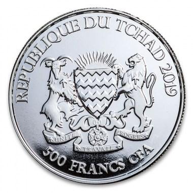 Moneda de Plata Zorro Celta de República de Chad 2019 1 oz