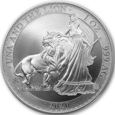 Moneda de Plata Una & The Lion de Santa Elena 2020 1 oz