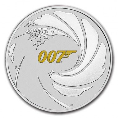 Moneda de Plata James Bond 007 Gilded de Tuvalu 2021 1 oz