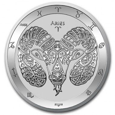 Moneda de Plata Zodiaco - Aries de Tokelau 2021 1 oz