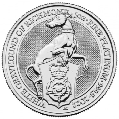 Moneda de Platino Queen's Beasts The White Greyhound 2022 1 oz