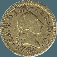Moneda Carlos III 1/2 Escudo Oro 1762 Madrid JP 1,76 g