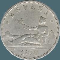 Moneda Gobierno Provisional 2 Pesetas Plata 1870 DEM 9,94 g