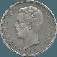 Moneda Amadeo I 5 Pesetas Plata 1871 SDM 24,96 g