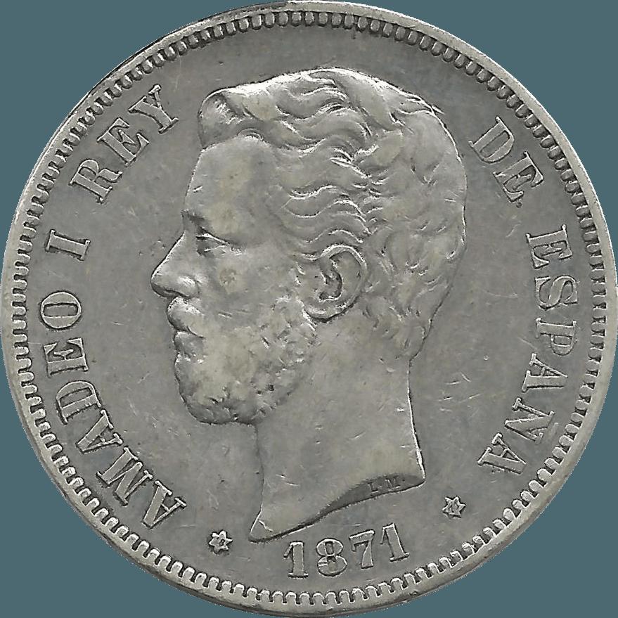 Moneda Amadeo I 5 Pesetas Plata 1871*1871 SDM 24,96 gr