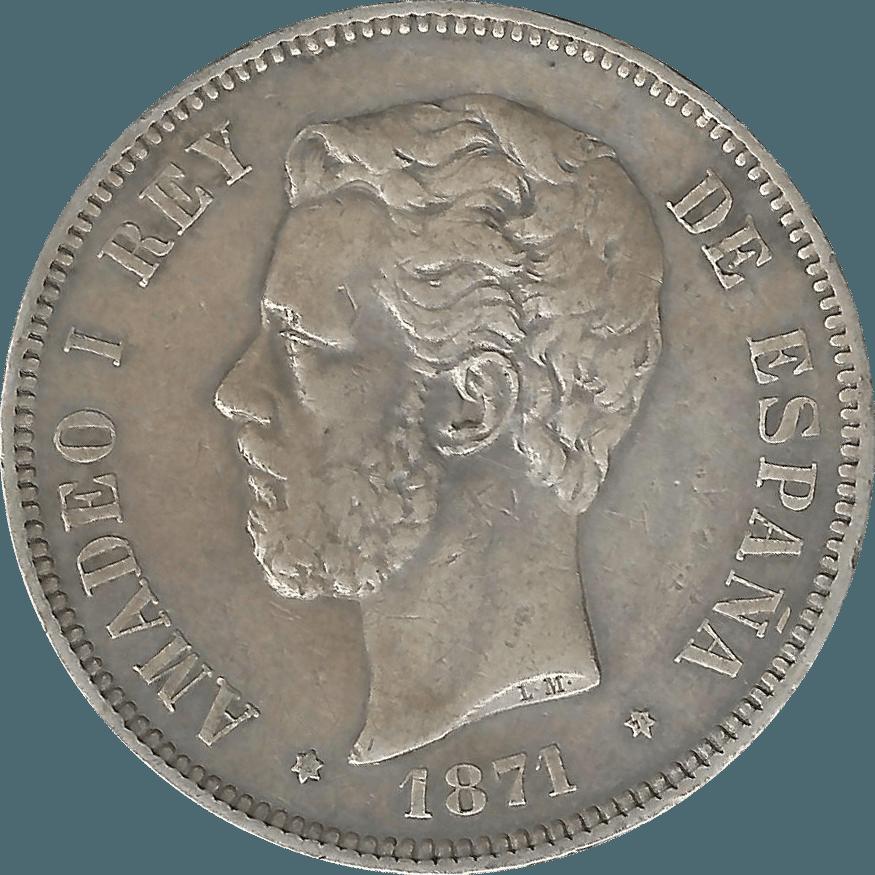 Moneda Amadeo I 5 Pesetas Plata 1871 SDM 24,77 g