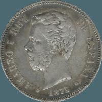 Moneda Amadeo I 5 Pesetas Plata 1871 DEM 24,95 g