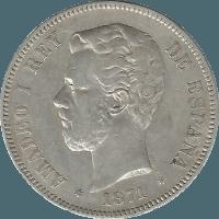 Moneda Amadeo I 5 Pesetas Plata 1871 DEM 24,77 g