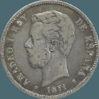 Moneda Amadeo I 5 Pesetas Plata 1871 DEM 24,60 g