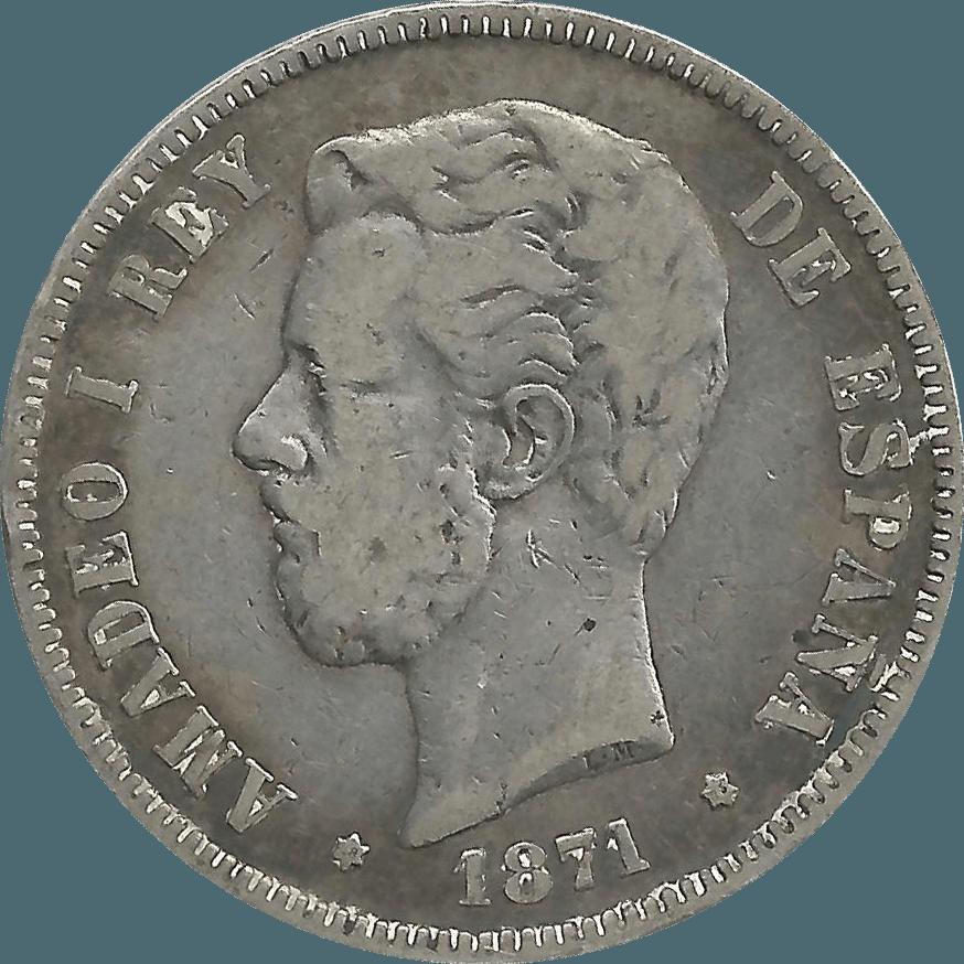 Moneda Amadeo I 5 Pesetas Plata DEM 24,60 g