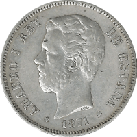 Moneda Amadeo I 5 Pesetas Plata 1871 DEM 24,58 g