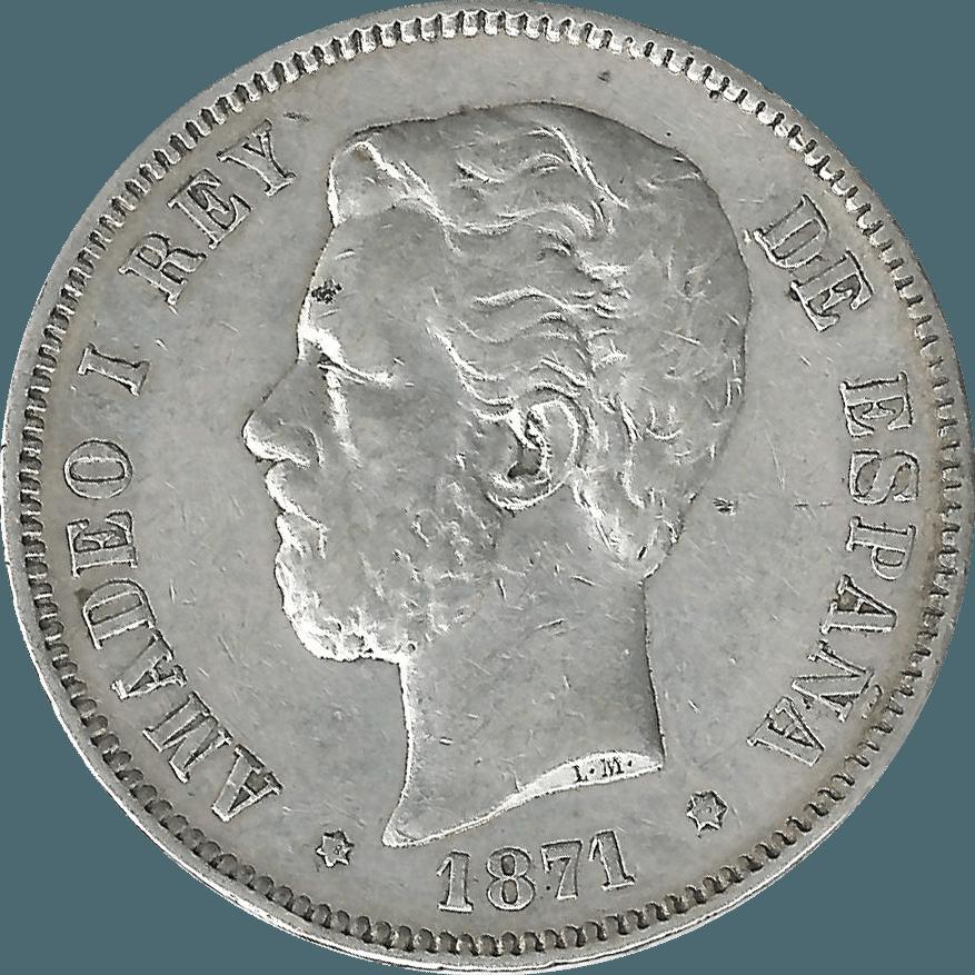 Moneda Amadeo I 5 Pesetas Plata 1871*1875 DEM 24,58 gr