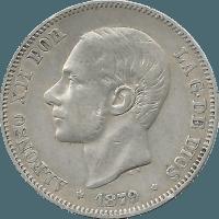 Moneda Alfonso XII 2 Pesetas Plata 1879 EMM 9,83 g