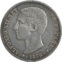 Moneda Alfonso XII 5 Pesetas Plata 1876 DEM 24,79 g