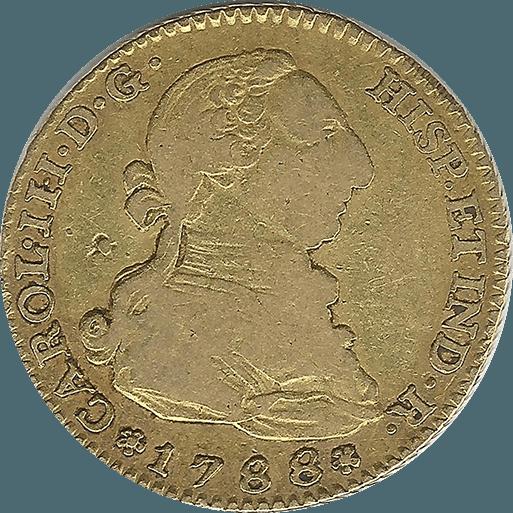 Moneda Carlos III 2 Escudos Oro Madrid M 6,77 g