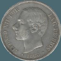 Moneda Alfonso XII 5 Pesetas Plata 1883*1883 MSM 24,63 gr