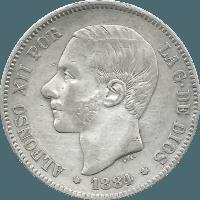 Moneda Alfonso XII 5 Pesetas Plata MSM 24,80 g