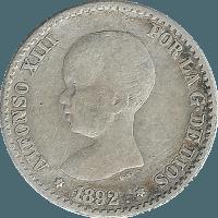 Moneda Alfonso XIII 50 Céntimos Plata PGM 2,43 g