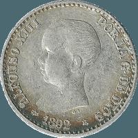 Moneda Alfonso XIII 50 Céntimos Plata PGM 2,51 g