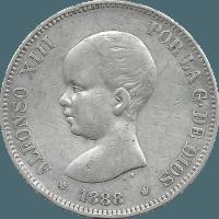Moneda Alfonso XIII 5 Pesetas Plata MPM 24,73 g
