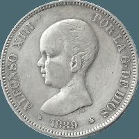 Moneda Alfonso XIII 5 Pesetas Plata MPM 24,86 g