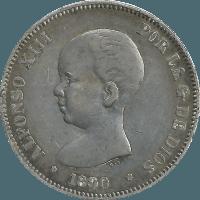 Moneda Alfonso XIII 5 Pesetas Plata PGM 24,67 g