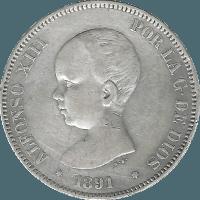 Moneda Alfonso XIII 5 Pesetas Plata PGM 24,85 g