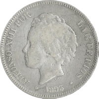 Moneda Alfonso XIII 5 Pesetas Plata PGV 24,59 g
