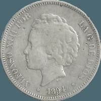 Moneda Alfonso XIII 5 Pesetas Plata PGV 24,60 g